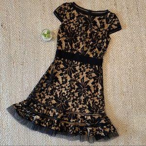 Tadashi Shoji Nude Black Lace Overlay Formal Dress